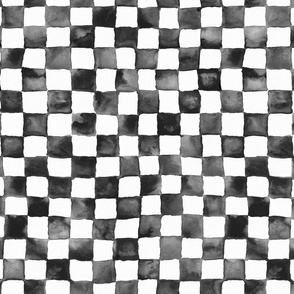 "watercolor checkerboard 1"" squares - black and white"