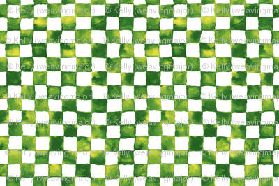 watercolor checkerboard - grass green, yellow and white