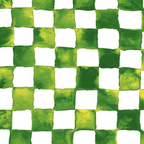 watercolor checkerboard - grass green, yellow and white fabric by weavingmajor on Spoonflower - custom fabric