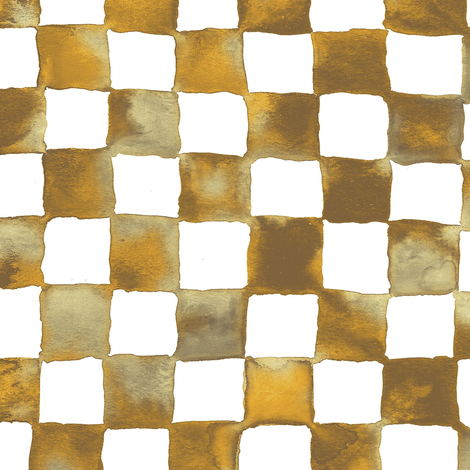 watercolor checkerboard - brown, gold, tan and white fabric by weavingmajor on Spoonflower - custom fabric