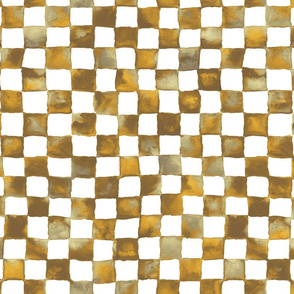 watercolor checkerboard - brown, gold, tan and white