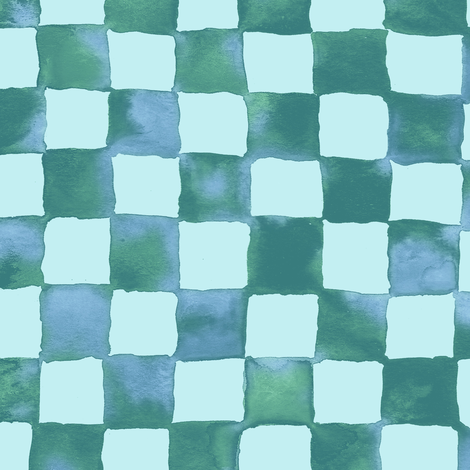 watercolor checkerboard - soft aqua fabric by weavingmajor on Spoonflower - custom fabric
