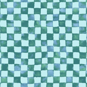 watercolor checkerboard - soft aqua
