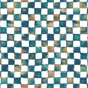 watercolor checkerboard - navy, teal, brown and white