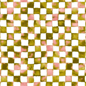 watercolor checkerboard - pink, bronze and white