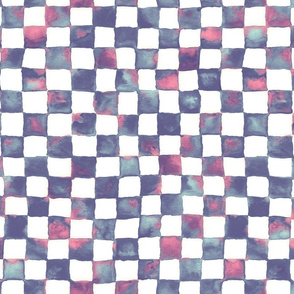 watercolor checkerboard - purple, blue, pink
