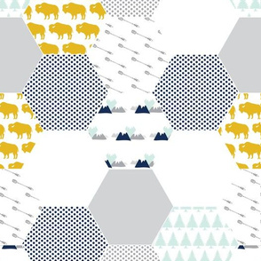 Little Adventurer Hexagon Wholecloth Cheater Quilt Baby Boy Buffalo Arrow