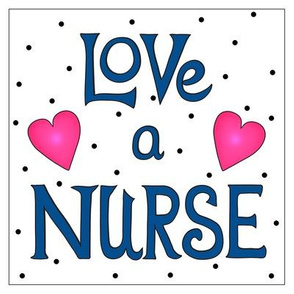 Love a Nurse 8 inch Block Dark Navy Blue