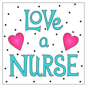 Love a Nurse 8 inch Block Turquoise Blue