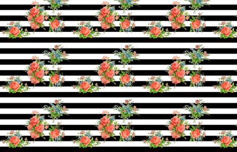 Black Stripes & Roses fabric by saristamper on Spoonflower - custom fabric