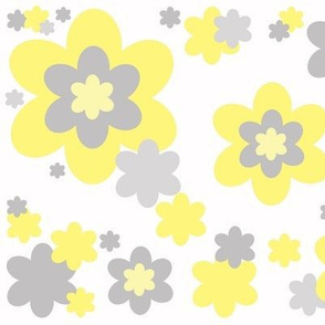 Yellow Gray Floral