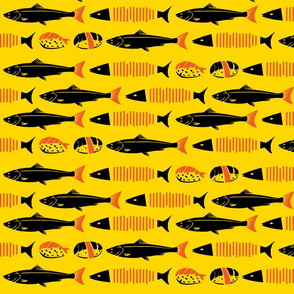 Repeated Fish and Sushi In Orange Background