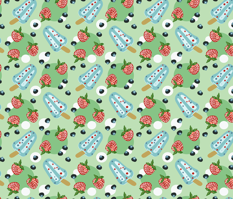 Summer Cookout with Refreshing Berries and Popsicles fabric by roguerenpnw on Spoonflower - custom fabric
