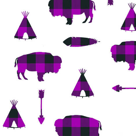 Buffalo Tribe // Purple Check // Large fabric by thinlinetextiles on Spoonflower - custom fabric