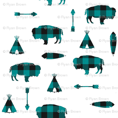 Buffalo Tribe // Teal Check // Large