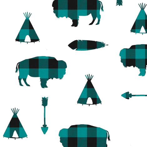 Buffalo Tribe // Teal Check // Large fabric by thinlinetextiles on Spoonflower - custom fabric