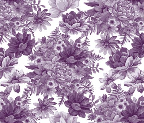 Vintage Dream Aubergine White fabric by jewelraider on Spoonflower - custom fabric