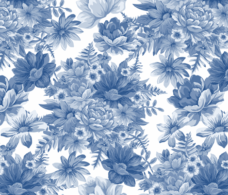 Vintage Dream Cerulean White fabric by jewelraider on Spoonflower - custom fabric