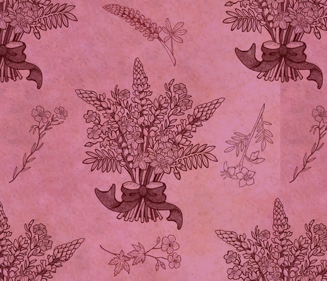 Pink bouquet fabric by ksharpstudio on Spoonflower - custom fabric