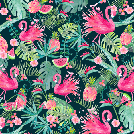 Tropical Summer on Deep Teal Small Scale fabric by gingerlique on Spoonflower - custom fabric
