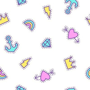 Diamonds, crowns, zaps,  rainbow and hearts