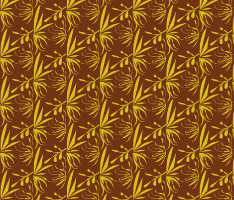 Golden Leaves and Twigs on Bush Brown - Medium Scale fabric by rhondadesigns on Spoonflower - custom fabric