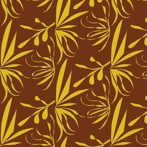 Golden Leaves and Twigs on Bush Brown - Medium Scale