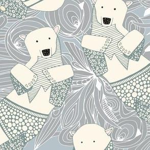 arctic polar bears silver