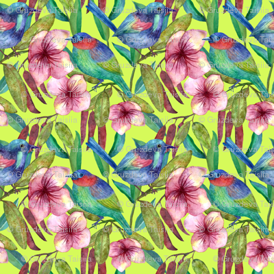 Colorful floral pattern with exotic flowers and birds