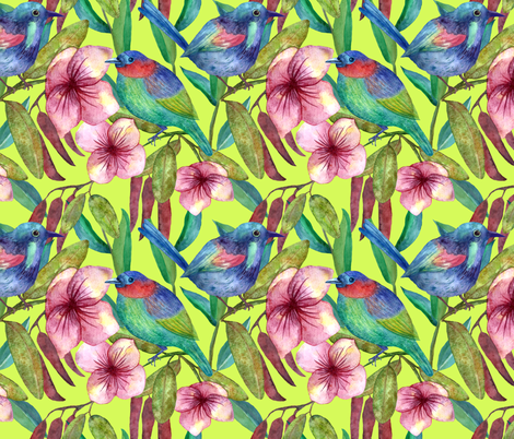 Colorful floral pattern with exotic flowers and birds fabric by tais_créatrice on Spoonflower - custom fabric