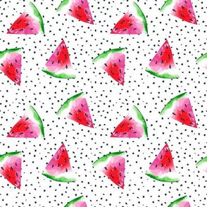 Pink Summer Watermelons on Dots // Medium