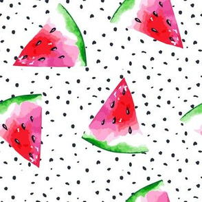 "8"" Pink Summer Watermelons on Dots // Large"