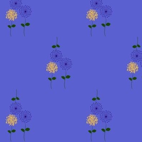 Offset Flowers on Blue