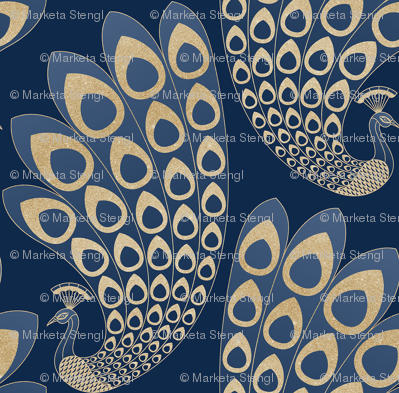 Blue and Gold Art Deco Peacock
