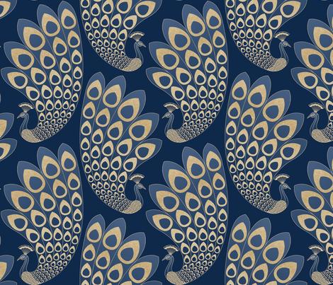 Blue and Gold Art Deco Peacock fabric by marketa_stengl on Spoonflower - custom fabric