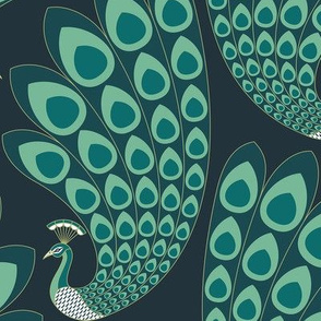 Emerald Green Art Deco Peacock