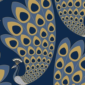 Blue Art Deco Peacock