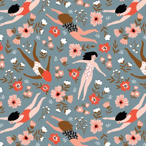 Flower bath fabric by alenkakarabanova on Spoonflower - custom fabric