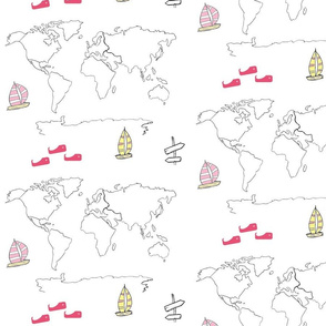 map - world yellow pink 105 -black and white boats