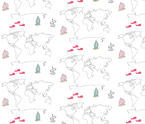 map - world pink 84 -black and white boats fabric by drapestudio on Spoonflower - custom fabric