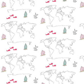 map - world pink 84 -black and white boats