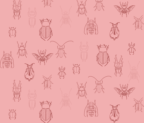 beetles in pink fabric by eleventy-five on Spoonflower - custom fabric