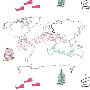 map - Adventure pink 84 -black and white boats