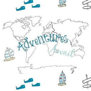 map - Adventure blue 84 -black and white boats