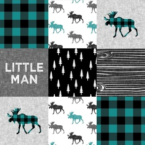 little man - moose patchwork woodland - grey, black, dark teal