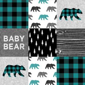 baby bear patchwork woodland - grey, black, dark teal
