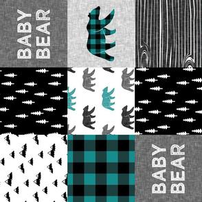 baby bear patchwork woodland - grey, black, dark teal (90)
