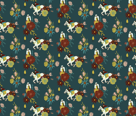 Horse Races - Dark Teal fabric by scarlette_soleil on Spoonflower - custom fabric