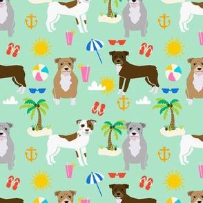 pitbull beach summer dog breed pet lover pibbles fabric mint