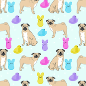 pug marshmallow easter spring dog breed gifts for pug lovers fabric lite blue